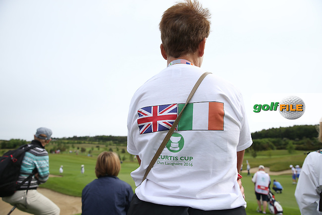 Rear of spectator t-shirt during Friday Foursomes at the 2016 Curtis Cup, played at Dun Laoghaire GC, Enniskerry, Co Wicklow, Ireland. 10/06/2016. Picture: David Lloyd | Golffile. <br /> <br /> All photo usage must display a mandatory copyright credit to &copy; Golffile | David Lloyd.