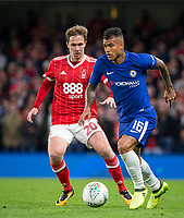 Kenedy of Chelsea & Kieran Dowell of Notthingham Forest during the Carabao Cup (Football League cup) 23rd round match between Chelsea and Nottingham Forest at Stamford Bridge, London, England on 20 September 2017. Photo by Andy Rowland.