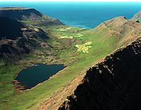 Vatnadalur séð til norðvesturs. Bær og Staður í baksýn, Suðureyrarhreppur / Vatnadalur, lake Vatnadalsvatn viewing northwest. Baer and Stadur farms in background. Sudureyrarhreppur