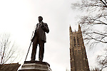 February 23, 2015. Durham, North Carolina.<br />  A statue of James Buchanan Duke stands in front of the Duke Cahpel. Duke  was the son of Washington Duke, who founded Trinity College, which became Duke University.