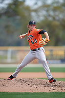 Baltimore Orioles pitcher Steven Klimek (68) during a Minor League Spring Training game against the Boston Red Sox on March 20, 2018 at Buck O'Neil Complex in Sarasota, Florida.  (Mike Janes/Four Seam Images)