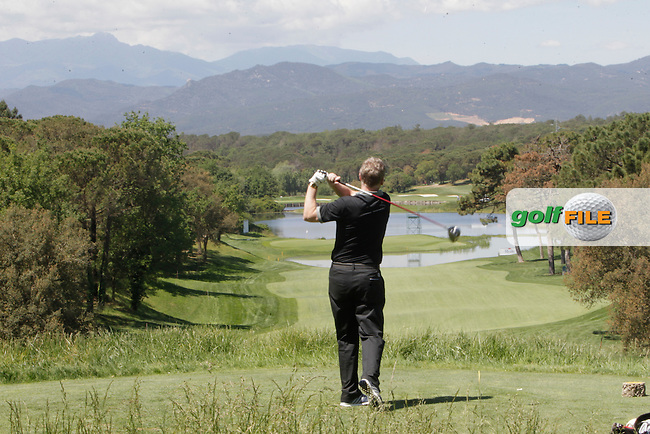 David Moyes (AM) on the 13th tee during the Pro-Am in The Open De Espana at The PGA Catalunya Resort on Wednesday 14th May 2014.<br /> Picture:  Thos Caffrey / www.golffile.ie