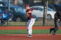 Iona Gaels third baseman Tyler Bruno (10) makes a throw to first base against the Rutgers Scarlet Knights at City Park on March 8, 2017 in New Rochelle, New York.  The Scarlet Knights defeated the Gaels 12-3.  (Brian Westerholt/Four Seam Images)