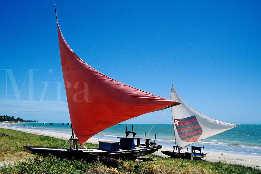 Fishing rafts called jangadas at Porto da Rua beach, Alagoas, Brazil
