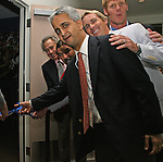 27 August 2006: From left: MLS investor and 2006 Hall of Fame inductee Philip Anschutz, 2005 inductee Marcelo Balboa, U.S. Soccer Federation president Sunil Gulati, MLS player Chris Henderson, and 2006 inductee Alexi Lalas are on hand for the ribbon cutting ceremony for a new exhibit at the Hall of Fame commemorating the first ten years of the league's history. The President's Reception and Dinner were held at the National Soccer Hall of Fame in Oneonta, New York the evening before the 2006 Induction Ceremony.
