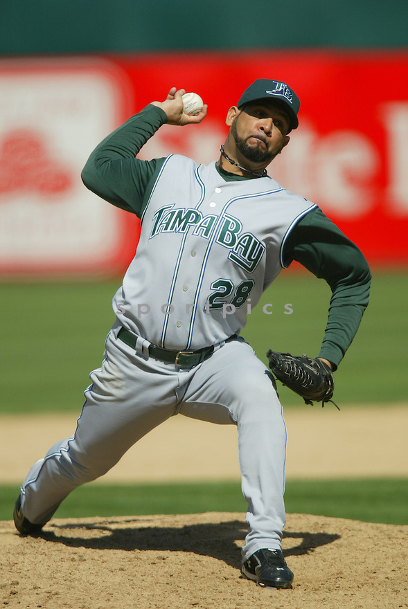 AL REYES, of the Tampa Bay Devil Rays , in action during the  Devil Rays game against the Oakland A's  on April 29, 2007 in Oakland, California..Devil Rays win 5-3...Rob Holt/ SportPics..
