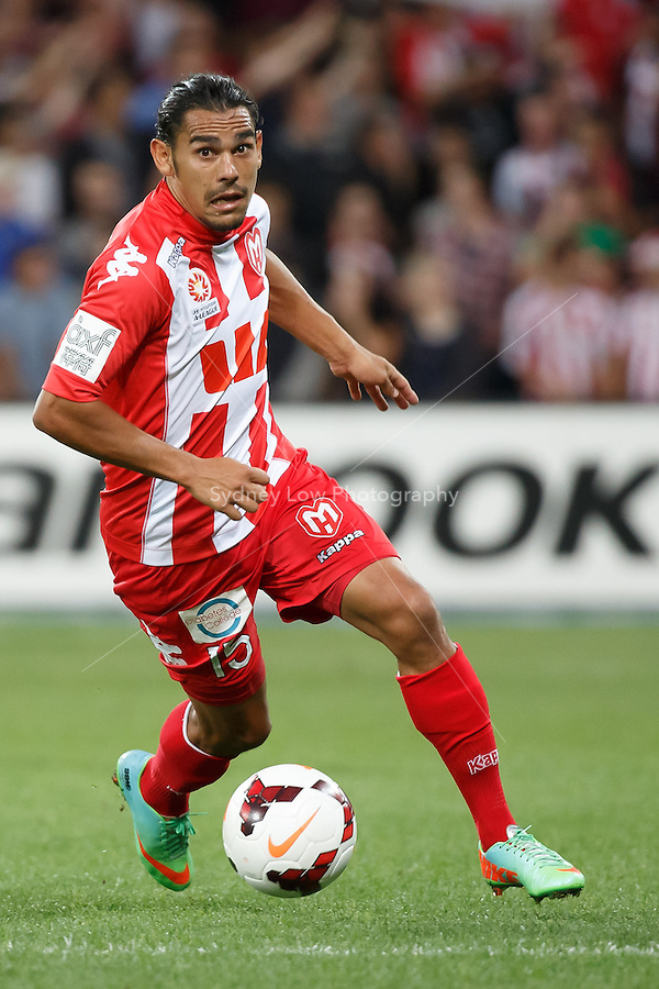David WILLIAMS of the Heart controls the ball in the round 21 match between Melbourne Heart and Melbourne Victory in the Australian Hyundai A-League 2013-24 season at AAMI Park, Melbourne, Australia. Photo Sydney Low/Zumapress<br /> <br /> This image is not for sale on this web site. Please visit zumapress.com for licensing