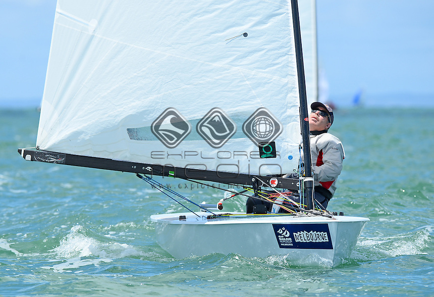 OK Dinghy / Mark Skelton (AUS)<br /> 2013 ISAF Sailing World Cup - Melbourne<br /> Sail Melbourne - The Asia Pacific Regatta<br /> Sandringham Yacht Club, Victoria<br /> December 1st - 8th 2013<br /> &copy; Sport the library / Jeff Crow