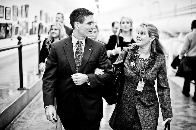 Rep. Joe Heck, R-Nev., walks with his wife Lisa and their children through the Cannon Tunnel to the House Chamber where he will be sworn in as a member of the 112th Congress on Jan. 5, 2011.