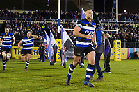 Max Lahiff and the rest of the Bath Rugby team run out onto the field. Aviva Premiership match, between Bath Rugby and Northampton Saints on February 9, 2018 at the Recreation Ground in Bath, England. Photo by: Patrick Khachfe / Onside Images