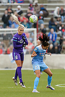 Bridgeview, IL, USA - Sunday, May 1, 2016: Orlando Pride midfielder Kaylyn Kyle (6) and Chicago Red Stars forward Christen Press (23) during a regular season National Women's Soccer League match between the Chicago Red Stars and the Orlando Pride at Toyota Park. Chicago won 1-0.
