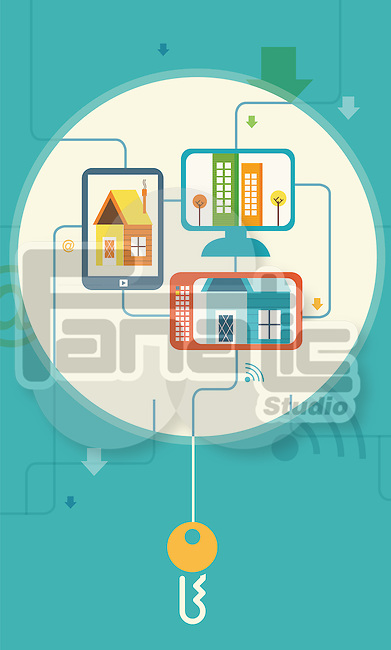 Illustrative image of buildings on screens representing online property hunting