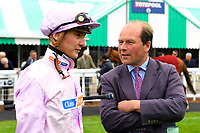 Jockey Mitch Godwin and Trainer Harry Dunlop in the Winners enclosure after winning The Peter Symonds Catering Claiming Stakes with Oofy Prosser during Afternoon Racing at Salisbury Racecourse on 16th May 2019