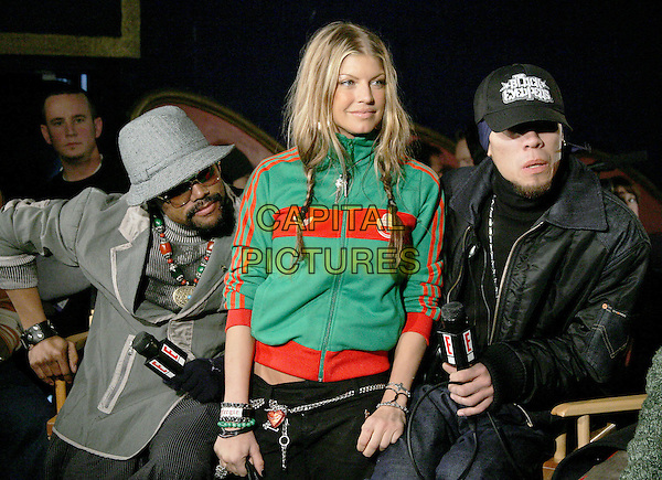 BLACK EYED PEAS - FERGIE, TABOO, APL.DE.AP.The 47th Annual Grammy Award Nominees Announcements. The announcements were held at The Music Box in Hollywood, California .December 7th, 2004.half length, green zip up top, cardigan, hat, baseball cap, braids, plaits.www.capitalpictures.com.sales@capitalpictures.com.Supplied By Capital PIctures