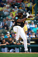 Pittsburgh Pirates first baseman Josh Bell (55) at bat during a Spring Training game against the Toronto Blue Jays  on March 3, 2016 at McKechnie Field in Bradenton, Florida.  Toronto defeated Pittsburgh 10-8.  (Mike Janes/Four Seam Images)