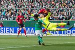 13.04.2019, Weser Stadion, Bremen, GER, 1.FBL, Werder Bremen vs SC Freiburg, <br /> <br /> DFL REGULATIONS PROHIBIT ANY USE OF PHOTOGRAPHS AS IMAGE SEQUENCES AND/OR QUASI-VIDEO.<br /> <br />  im Bild<br /> <br /> Theodor Gebre Selassie (Werder Bremen #23)<br /> Florian Niederlechner (SC Freiburg #7)<br /> Jiri Pavlenka (Werder Bremen #01)<br /> <br /> Foto &copy; nordphoto / Kokenge