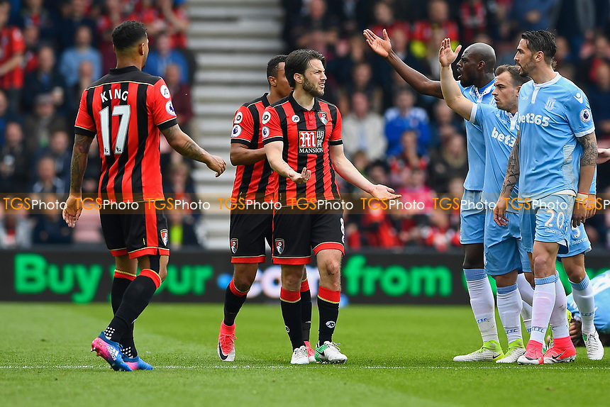 Stoke City players berate Harry Arter of AFC Bournemouth after a tackle on Joe Allen of Stoke City during AFC Bournemouth vs Stoke City, Premier League Football at the Vitality Stadium on 6th May 2017