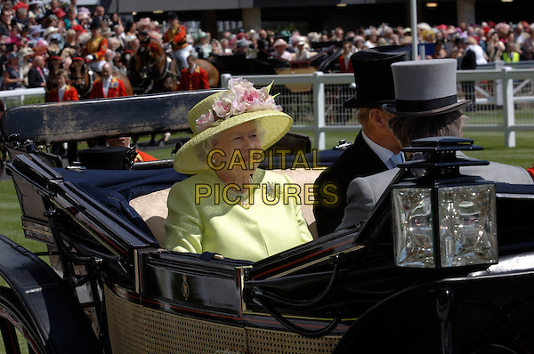 PRINCE PHILIP & HM THE QUEEN.Ladies' Day during the third day of Royal Ascot at the Ascot Racecourse.22nd June 2006 Ascot, Berkshire, England.Ref: FIN.carriage royalty yllow hat top hat.www.capitalpictures.com.sales@capitalpictures.com.© Capital Pictures.