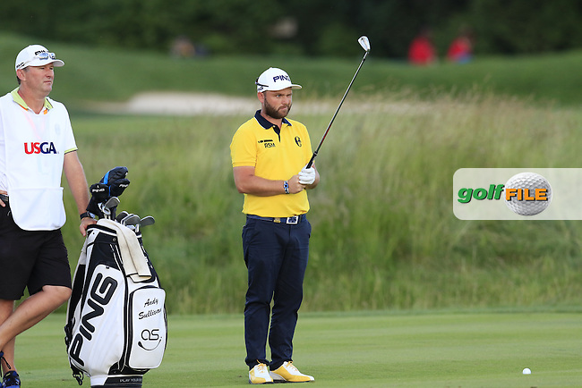 Andy Sullivan (ENG) and caddy Sean Mcdonagh on the 9th hole during Friday's Round 2 of the 2016 U.S. Open Championship held at Oakmont Country Club, Oakmont, Pittsburgh, Pennsylvania, United States of America. 17th June 2016.<br /> Picture: Eoin Clarke | Golffile<br /> <br /> <br /> All photos usage must carry mandatory copyright credit (&copy; Golffile | Eoin Clarke)