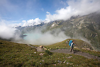 Above the Lac de Moiry, along stage 10 of the Walker's Haute Route, between Cabane de Moiry and Zinal, Switzerland.