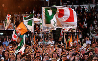 Militanti del Partito Democratico sventolano bandiere durante la manifestazione contro la manovra economica del governo al Palalottomatica, Roma, 19 giugno 2010..Center-left Democratic Party's activists wave flags during their rally in Rome, 19 june 2010, against government's plan in spending cuts..UPDATE IMAGES PRESS/Riccardo De Luca