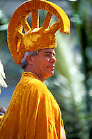 EDITORIAL ONLY. Hawaiian man in traditional garb portraying king at Aloha Week Festival