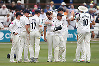 Will Rhodes of Warwickshire celebrates with his team mates after taking the wicket of Tom Westley during Essex CCC vs Warwickshire CCC, Specsavers County Championship Division 1 Cricket at The Cloudfm County Ground on 15th July 2019