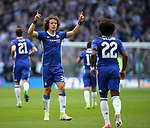 Chelsea's David Luiz celebrates with Willian during the FA Cup Semi Final match at Wembley Stadium, London. Picture date: April 22nd, 2017. Pic credit should read: David Klein/Sportimage