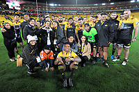 100 game super centurion Julian Savea with family and teammates after the Super Rugby match between the Hurricanes and Chiefs at Westpac Stadium in Wellington, New Zealand on Friday, 9 June 2017. Photo: Dave Lintott / lintottphoto.co.nz