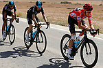 The peloton with race leader Chris Froome (GBR) Team Sky in action during Stage 13 of the 2017 La Vuelta, running 198.4km from Coin to Tomares, Seville, Spain. 1st September 2017.<br />