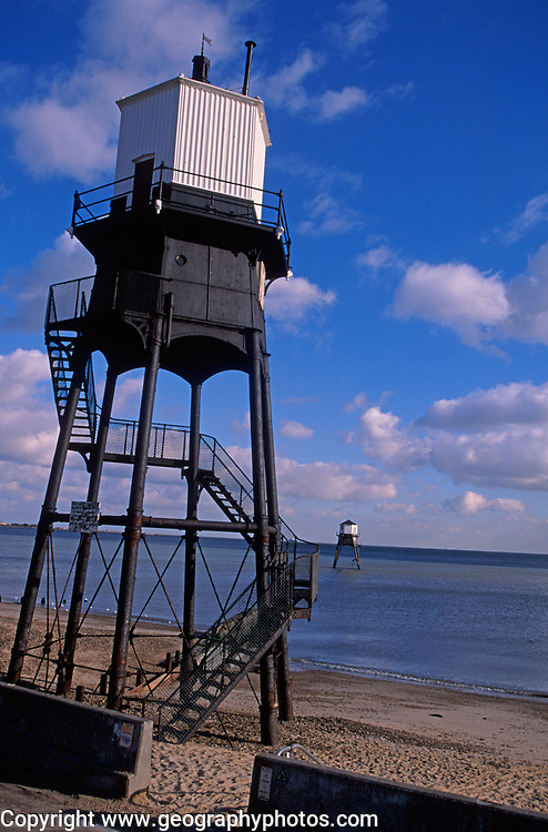 A727XE Victorian lighthouse beacon structures Leading Lights Dovercourt Essex England
