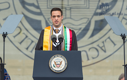 May 21, 2017; Salutatorian José Alberto Suárez delivers the invocation at the 2017 Commencement ceremony in Notre Dame Stadium.  (Photo by Barbara Johnston/University of Notre Dame)