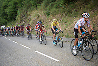 Chris Froome (GBR/SKY) safely in the peloton behind his 'SKY-train'<br /> <br /> stage 12: Lannemezan - Plateau de Beille (195km)<br /> 2015 Tour de France