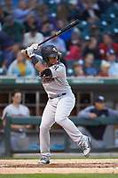 Gleyber Torres (7) of the Scranton/Wilkes-Barre RailRiders at bat against the Charlotte Knights at BB&T BallPark on April 12, 2018 in Charlotte, North Carolina.  The RailRiders defeated the Knights 11-1.  (Brian Westerholt/Four Seam Images)