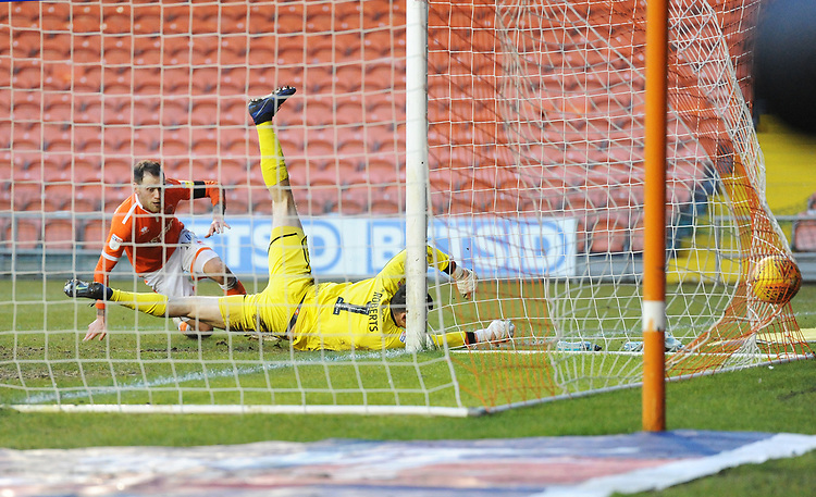 Blackpool's Harry Pritchard scores his side's second goal <br /> <br /> Photographer Kevin Barnes/CameraSport<br /> <br /> The EFL Sky Bet League One - Blackpool v Walsall - Saturday 9th February 2019 - Bloomfield Road - Blackpool<br /> <br /> World Copyright &copy; 2019 CameraSport. All rights reserved. 43 Linden Ave. Countesthorpe. Leicester. England. LE8 5PG - Tel: +44 (0) 116 277 4147 - admin@camerasport.com - www.camerasport.com