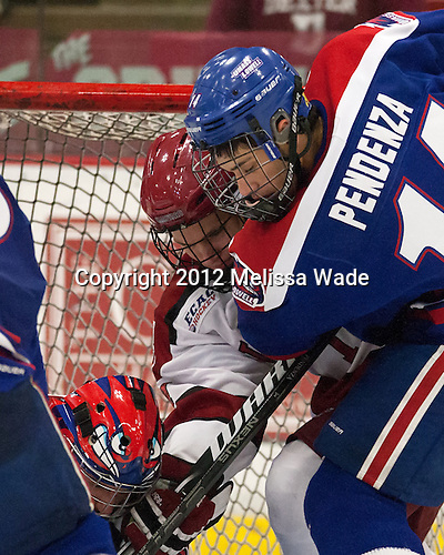 Luke Greiner (Harvard - 26), Joseph Pendenza (UML - 14) - The visiting University of Massachusetts Lowell River Hawks defeated the Harvard University Crimson 5-0 on Monday, December 10, 2012, at Bright Hockey Center in Cambridge, Massachusetts.