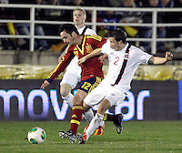 Spain's Sarabia and Norway's Jonassen (l) Linnes (r) during an International sub21 match. March 21, 2013.(ALTERPHOTOS/Alconada) /NortePhoto