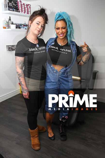 Jodie Marsh getting a tattoo of Freddy Mercury from Queen on her right lower leg at Black Orchid Tattoo in Warwick on Saturday 10th August 2019. Photo by Ian Hopgood / PRiME Media Images