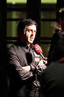 Ronnie O'Sullivan is interviewed by the media after winning the Dafabet Masters FINAL between Barry Hawkins and Ronnie O'Sullivan at Alexandra Palace, London, England on 17 January 2016. Photo by Liam Smith / PRiME Media Images