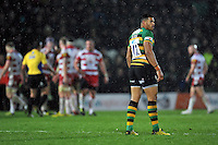 Luther Burrell of Northampton Saints looks on during a break in play. Aviva Premiership match, between Northampton Saints and Gloucester Rugby on November 27, 2015 at Franklin's Gardens in Northampton, England. Photo by: Patrick Khachfe / JMP