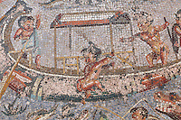 Detail of a mosaic medallion with pygmies fishing in a boat on the river Nile, 1st century AD, from the triclinium of the Casa di Paquio Proculo, or House of Paquius Proculus, Pompeii, Italy. In this central section of the mosaic floor, a pygmy is falling from the boat while crocodiles and a hippopotamus with gaping jaws wait for him in the water. Pompeii is a Roman town which was destroyed and buried under 4-6 m of volcanic ash in the eruption of Mount Vesuvius in 79 AD. Buildings and artefacts were preserved in the ash and have been excavated and restored. Pompeii is listed as a UNESCO World Heritage Site. Picture by Manuel Cohen