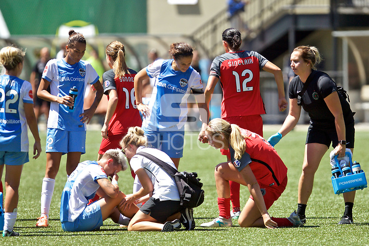 Portland, OR - Saturday August 05, 2017: Lindsey Horan, Janine Van Wyk during a regular season National Women's Soccer League (NWSL) match between the Portland Thorns FC and the Houston Dash at Providence Park.