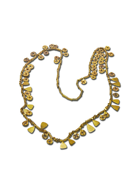Bronze Age Hattian gold necklace from Grave MA,  possibly a Bronze Age Royal grave (2500 BC to 2250 BC) - Alacahoyuk - Museum of Anatolian Civilisations, Ankara, Turkey. Against a white background