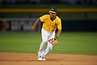 AZL Athletics Gold second baseman Christopher Quintin (2) during an Arizona League game against the AZL Rangers on July 15, 2019 at Hohokam Stadium in Mesa, Arizona. The AZL Athletics Gold defeated the AZL Athletics Gold 9-8 in 11 innings. (Zachary Lucy/Four Seam Images)