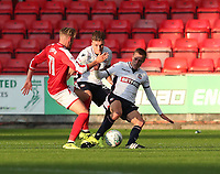 Bolton Wanderers' Stephen Darby is tackled by Crewe Alexandra's George Cooper<br /> <br /> Photographer Rachel Holborn/CameraSport<br /> <br /> The Carabao Cup - Crewe Alexandra v Bolton Wanderers - Wednesday 9th August 2017 - Alexandra Stadium - Crewe<br />  <br /> World Copyright &copy; 2017 CameraSport. All rights reserved. 43 Linden Ave. Countesthorpe. Leicester. England. LE8 5PG - Tel: +44 (0) 116 277 4147 - admin@camerasport.com - www.camerasport.com
