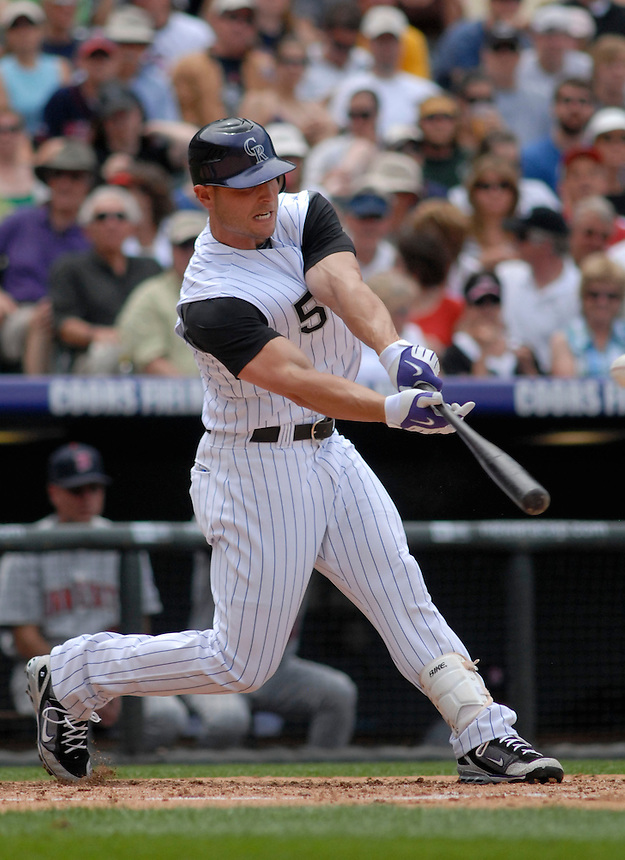 Colorado Rockies outfielder Matt Holliday at bat against the Minnesota Twins. The Rockies defeated the Twins 6-2 at Coors Field in Denver, Colorado on May 18, 2008.