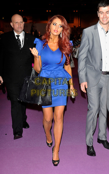 Amy Childs .at the Clothes Show Live 2012 at the NEC Birmingham, England, UK, .December 7th 2012..full length blue dress peplum frill black peep toe shoes bag hermes birkin .CAP/JIL.©Jill Mayhew/Capital Pictures