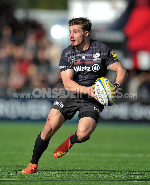 Ben Ransom in possession. Aviva Premiership match, between Saracens and Gloucester Rugby on October 11, 2014 at Allianz Park in London, England. Photo by: Patrick Khachfe / JMP