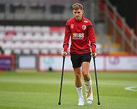 David Brooks of AFC Bournemouth arrives at the ground on crutches during AFC Bournemouth vs Sheffield United, Premier League Football at the Vitality Stadium on 10th August 2019
