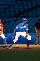 Denzel Clarke (5) of Everest Academy in Pickering, Ontario during the Under Armour All-American Game presented by Baseball Factory on July 29, 2017 at Wrigley Field in Chicago, Illinois.  (Mike Janes/Four Seam Images)